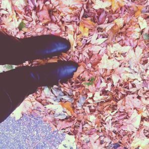 Standing in Fall Leaves
