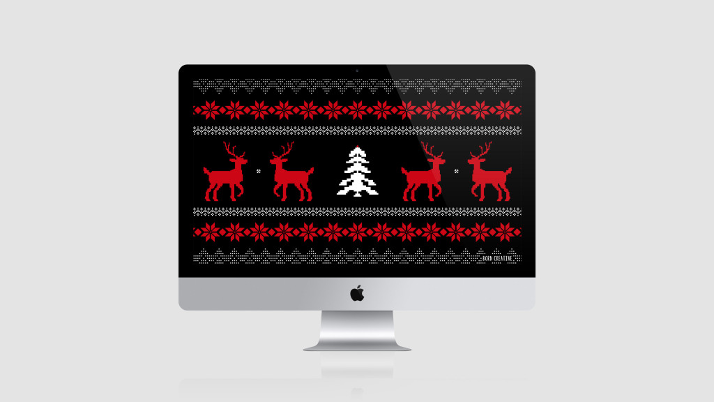 Festive Freebie - Instant free desktop wallpaper download - ugly sweater christmas patter in black red & white