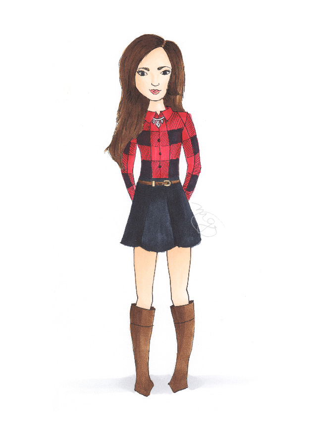 Sarah Vickers fashion inspiration for Michelle Gray copic illustration
