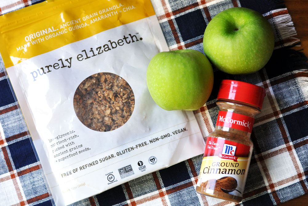 Easiest Apple Crisp Ever - Ingredients: Purely Elizabeth Granola, Granny Smith Apples, and Ground Cinnamon
