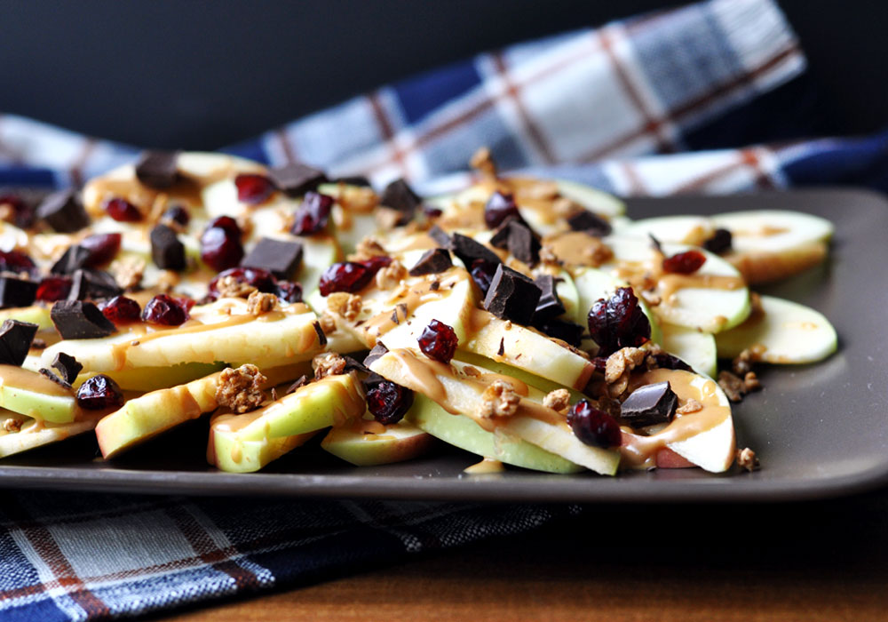 Simple & Healthy Apple Nachos - Step 1 - Add salty and sweet toppings
