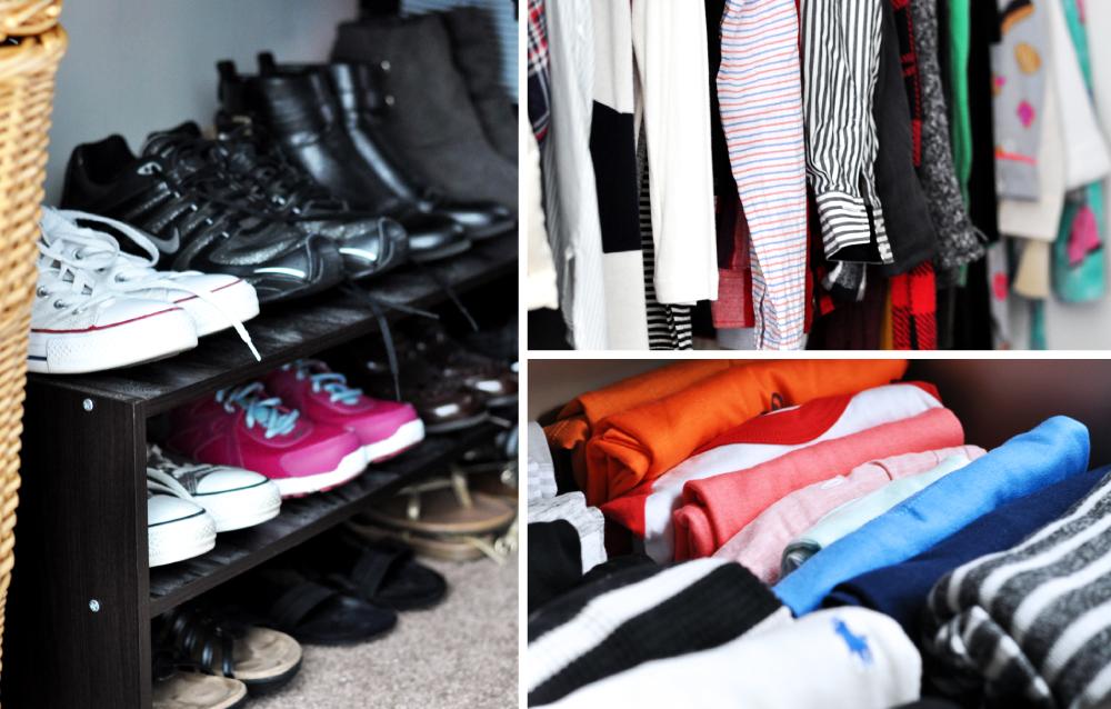 Organized wardrobe that brings me joy after using the Konmari method