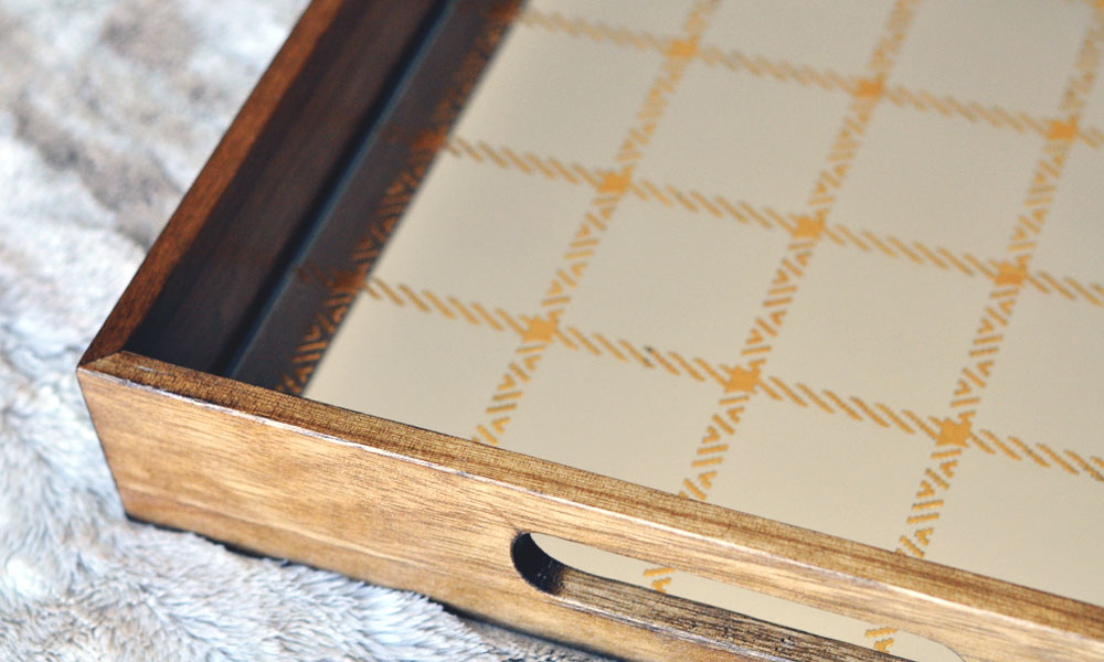 Wooden Plaid Target Tray Filled 2 Different Ways